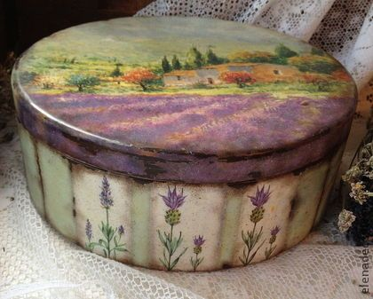 "Caskets handmade.  Fair Masters - handmade ""....... and again Provence !!!""  Big round box.  Handmade."