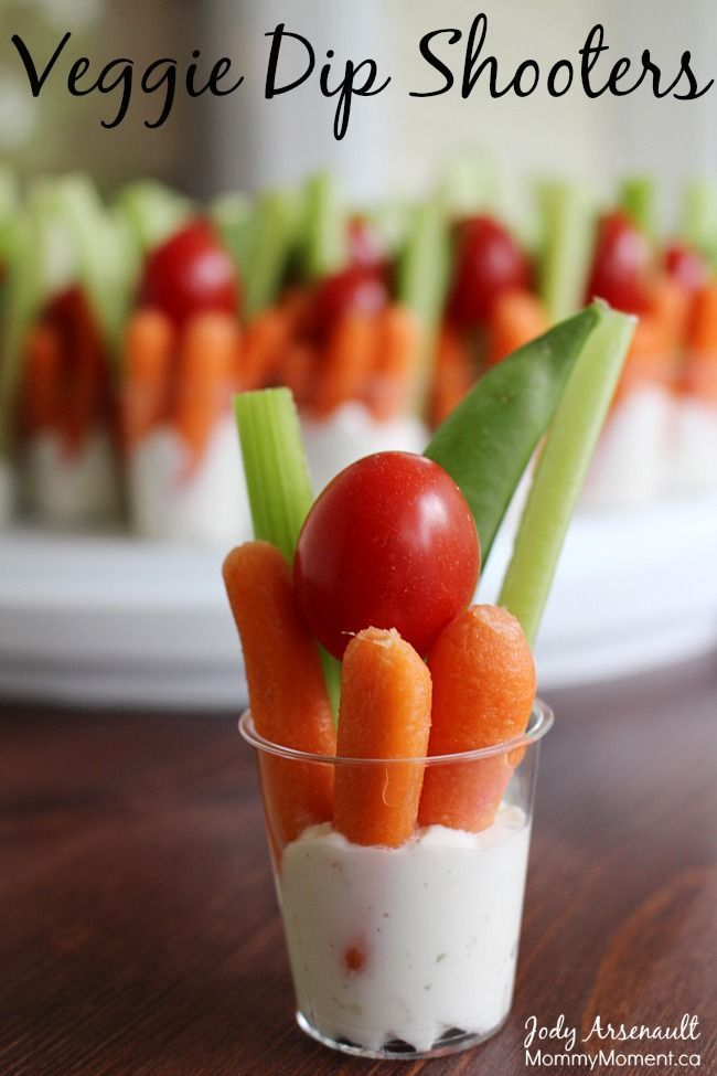 Veggie Dip Shooters are the perfect way to serve veggies and dip. http://MommyMoment.ca