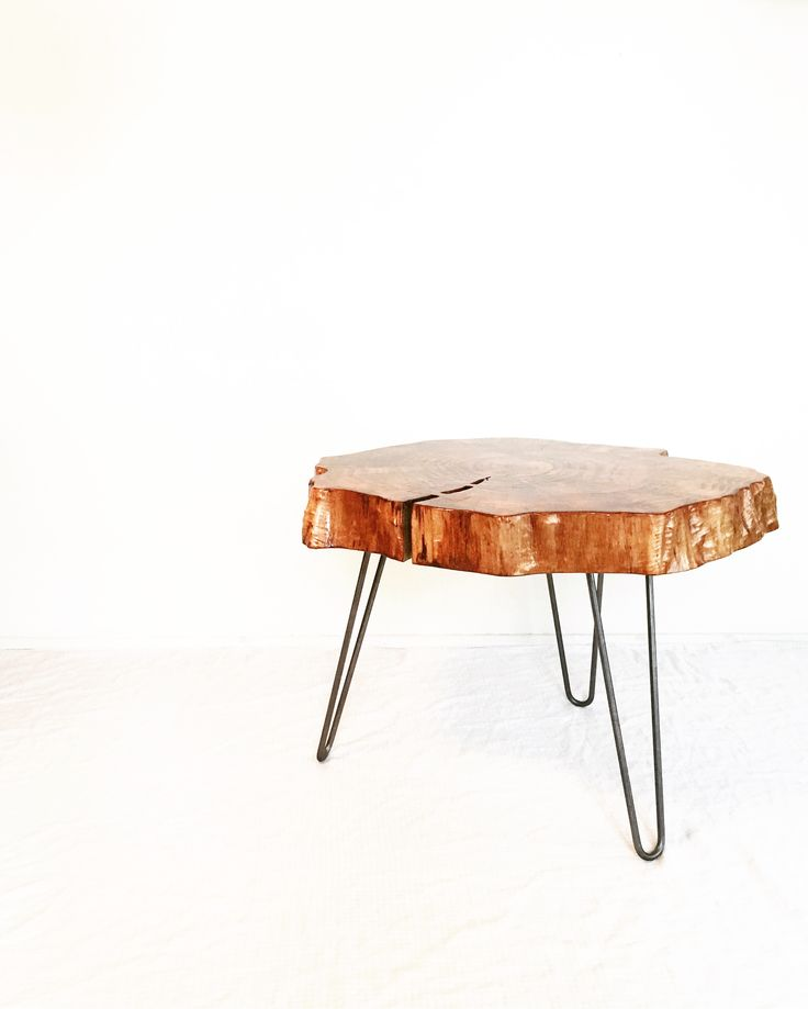 Wood side table, hairpin legs