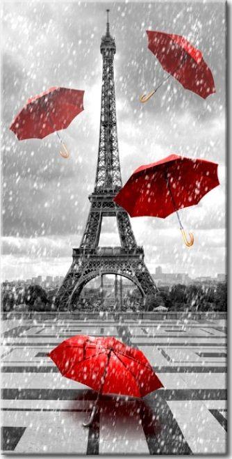 Picture on canvas Paris: Red Umbrellas