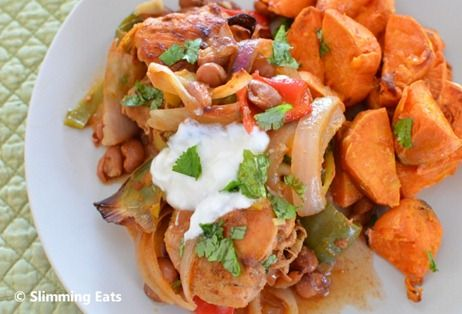 Slimming Eats Moroccan Chicken with Roasted Sweet Potato - gluten free, dairy free, paleo, Whole30, Slimming World (SP) and Weight Watchers friendly