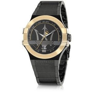 Maserati Potenza Black and Gold PVD Stainless Steel Unisex Watch