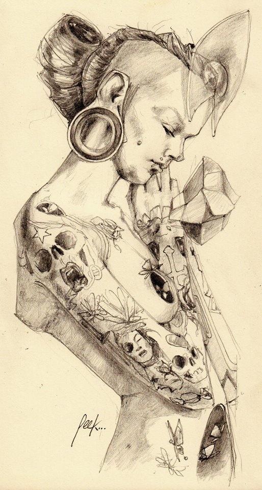Impactantes ilustraciones de Oscar Hernandez (Mr. Peek) basadas en grafito y acuarela.