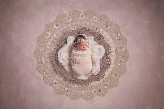 Baby Girl Newborn Digital Backdrop// Mauve Vintage Nest