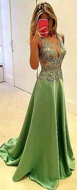 vestido longo madrinha/ formatura - cor verde