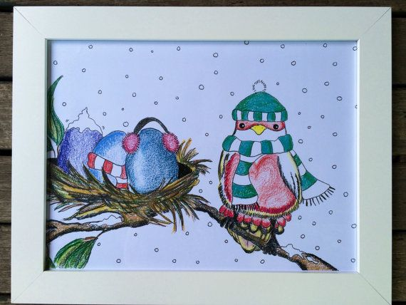 A3 print 'winter bird' from original by LilyandGingerCandles