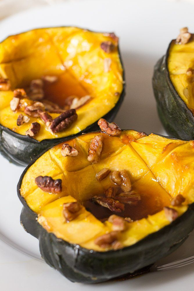 Maple Pecan Roasted Acorn Squash Recipe With Images Food