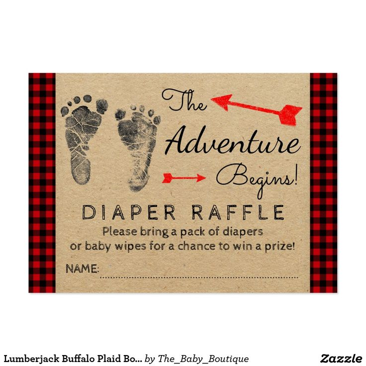 baby shower invitation wording for bringing diapers%0A Lumberjack Buffalo Plaid Boys Diaper Raffle Ticket Large Business Card   Diaper Raffle TicketsPrincess Baby ShowersBuffalo