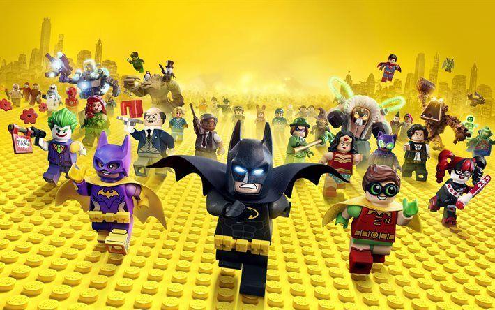 Scarica sfondi Lego Batman, 2017, Batgirl, Batman, Joker, Robin, Il Sindaco McCaskill, Due Facce, Harley Quinn