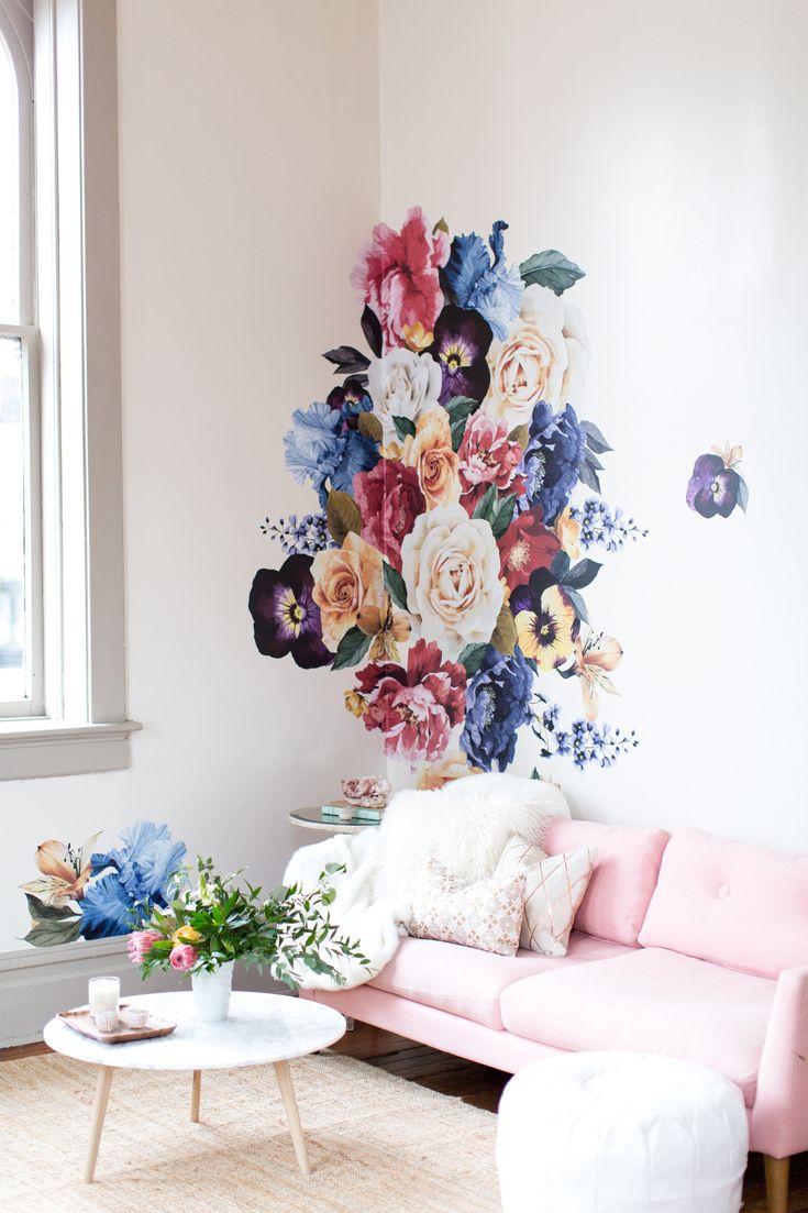 vintage floral wall decals urban walls - 735×1103