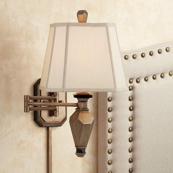 Wynell Champagne Plug-In Swing Arm Wall Lamp - #1W326 | Lamps Plus