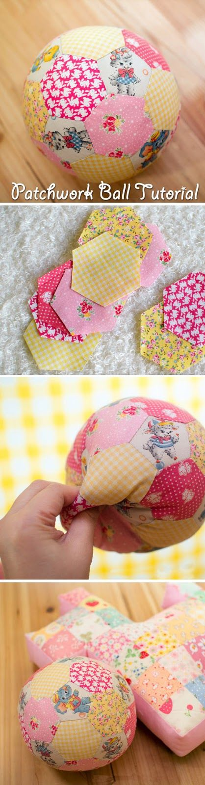 Tutorial: make a patchwork ball. Large soft Patchwork decoration in the shape of a ball hand stitched from patches in random bright colours. http://www.handmadiya.com/2015/08/patchwork-ball.html