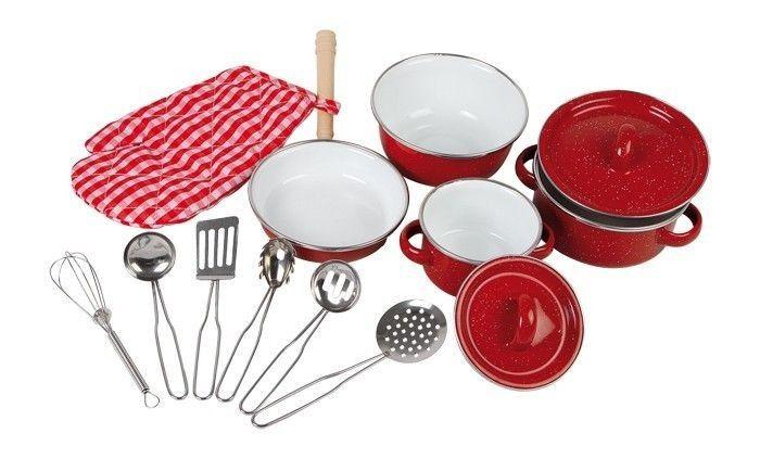 Zestaw garnków, czerwony | ZABAWKI \ Odgrywanie ról \ Akcesoria kuchenne NA PREZENT \ Prezent dla dziewczynki small foot \ Odgrywanie ról i przebranie \ Sklepiki i kuchnie | Hoplik.pl wyjątkowe zabawki