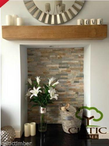 Timber shelf & open fireplace.