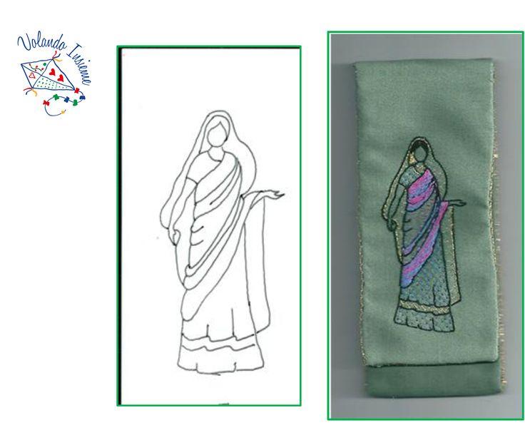 """Donna sari verde. Disegno e foto. Realizzato da """"Volando Insieme"""""""