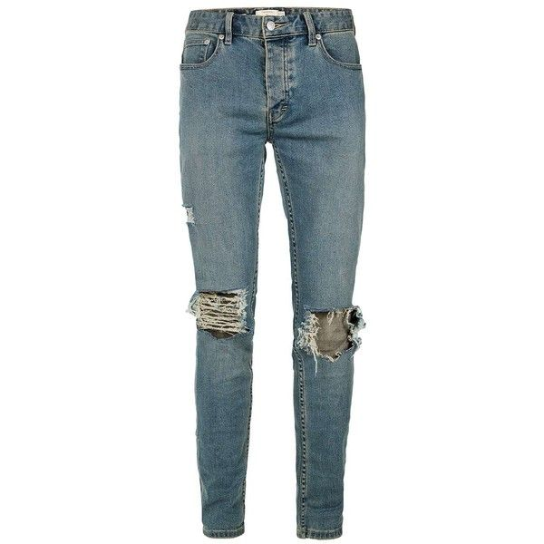 TOPMAN Light Wash Blue Extreme Ripped Stretch Skinny Jeans (1.306.125 VND) ❤ liked on Polyvore featuring men's fashion, men's clothing, men's jeans, blue, mens distressed skinny jeans, mens ripped skinny jeans, mens distressed jeans, mens button fly jeans and mens super skinny jeans