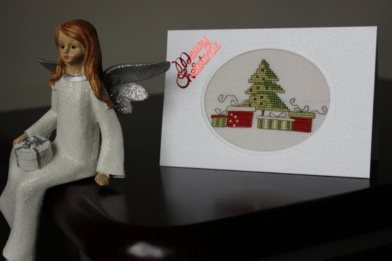 Cross stitch Christmas Greetings Handmade by LandOfPassion on Etsy