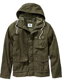 Men S Hooded Canvas Anoraks Old Navy Clothing Anorak