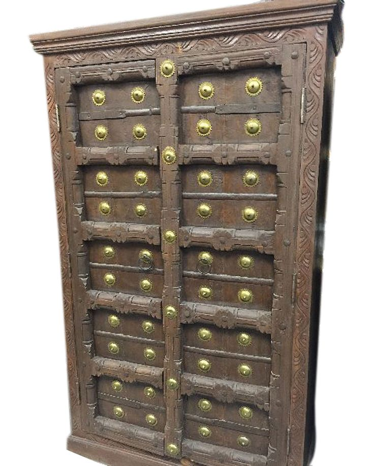 #armoire #antiquefurniture #rusticwood #teak #wardrobe http://www.houzz.com/photos/59144664/lid=44224060/Consigned-Antique-Teak-Britsh-Colonial-Brass-Armoire-Cabinet-asian-armoires-and-wardrobes
