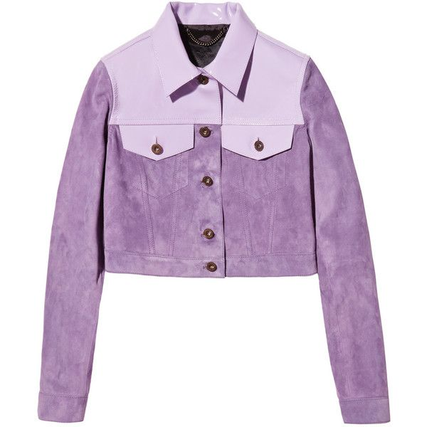 Burberry Prorsum Cropped patent leather-paneled suede jacket ($1,289) ❤ liked on Polyvore featuring outerwear, jackets, lavender, purple jacket, cropped jacket, suede leather jacket, burberry and patent jacket