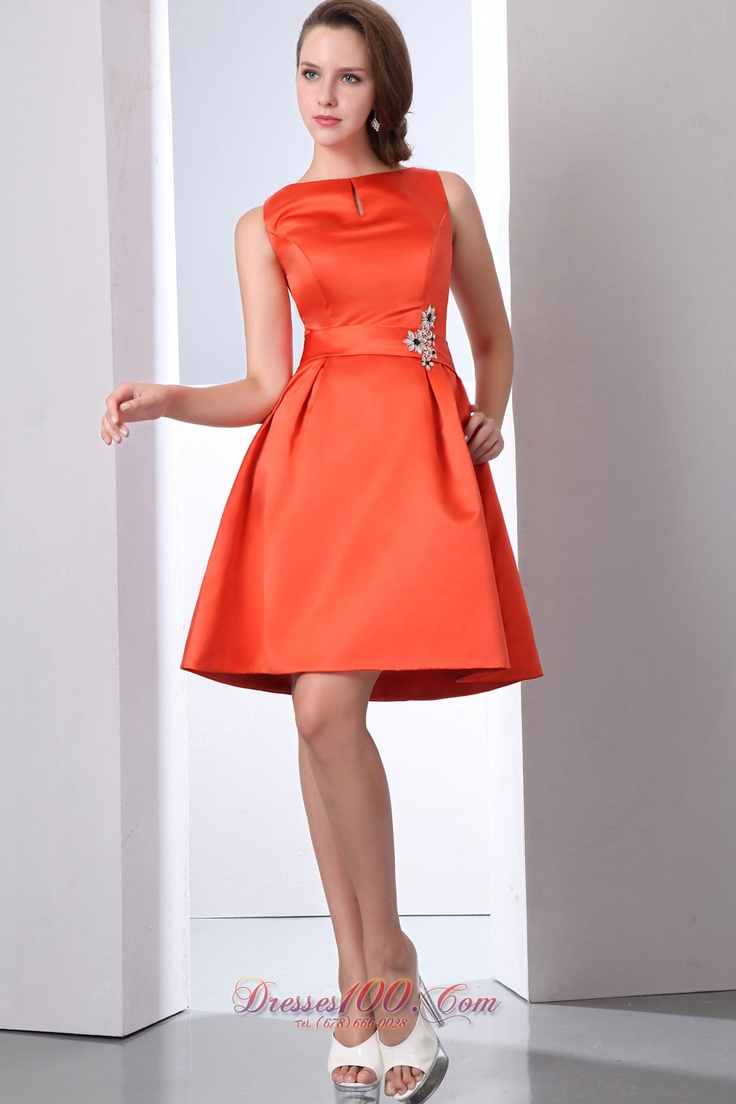 64 best orange evening wedding gowns images on pinterest orange modest orange red bateau beaded mini length bridesmaid dress in barberton ombrellifo Images