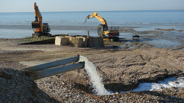 Time lapse footage of the Medmerry breach