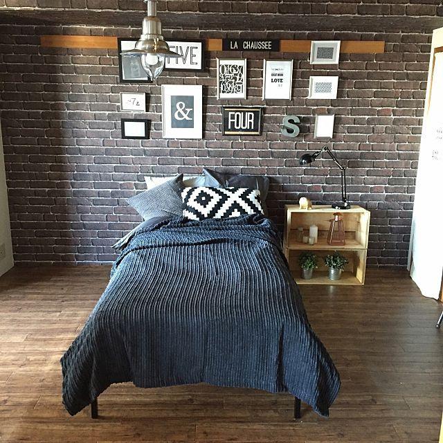 女性で、1Kのレンガ柄壁紙/ブルックリンスタイル/JKK東京×RoomClip/団地リノベーション…などについてのインテリア実例を紹介。「団地プチリノベ、いよいよ最後の家具のベッドが入って完成しました ҉٩(*´︶`*)۶҉ ここは元和室です♪」(この写真は 2016-01-19 18:16:05 に共有されました)