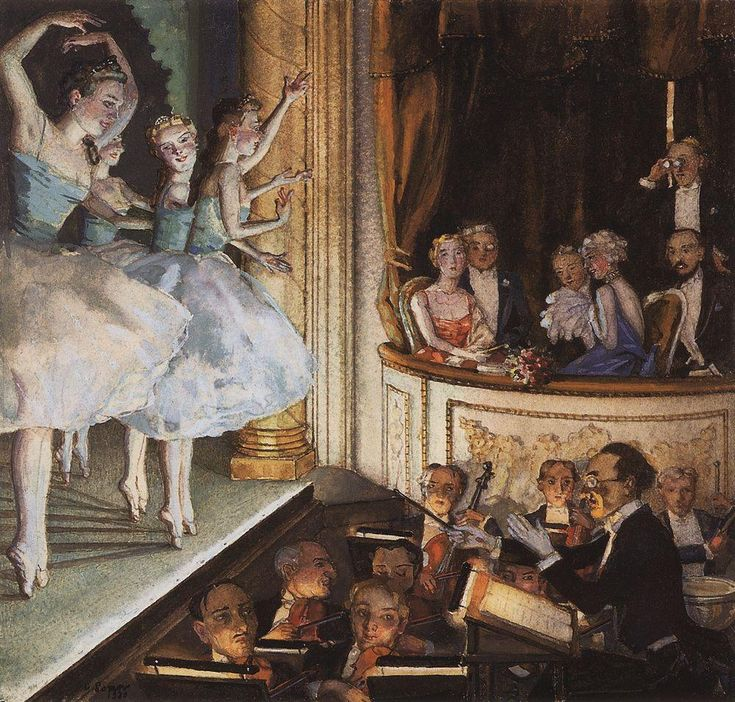 Russian ballet (1930).Konstantin Somov (Russian, 1869-1939). Bodycolour within a delineated border in black ink on cream paper. Ashmolean Museum. After emigration to France, Somov continued to draw amorous scenes of 18th century subjects, which made him known in St. Petersburg. Also, Somov painted portraits and drew a series of watercolors dedicated to the Russian ballet, of which this is an example.
