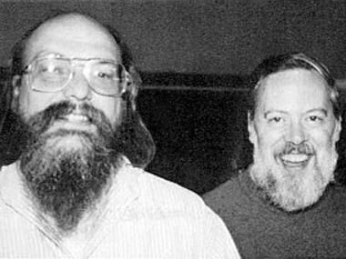 Ken Thompson(1943) and Dennis Ritchie(1941 - 2011). True, hardcore technologists. Established technical building blocks for UNIX variations (e.g. Android phones through super computer clusters).