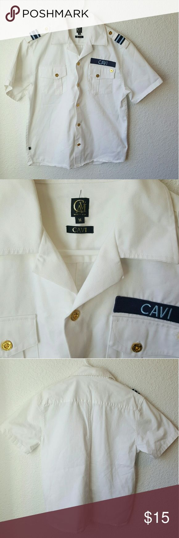 Mens Cavi military style top Mens white Cavi military style button up size medium. Pet and smoke free home.  Cheaper on ? ercari cavi Shirts Casual Button Down Shirts