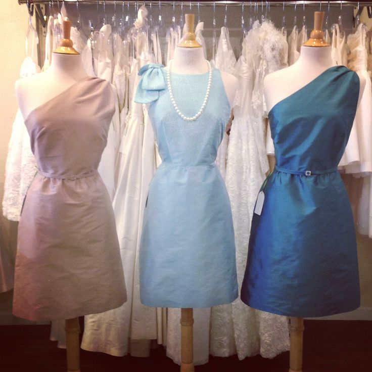 A perfect cool wedding palette of Rosy Beige, Tiffany Blue and Peacock.  Dresses by Anna Elyse.