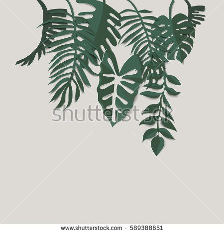tropical Leaf vector illustration with paper cut style. Tropical monstera and palm leaf