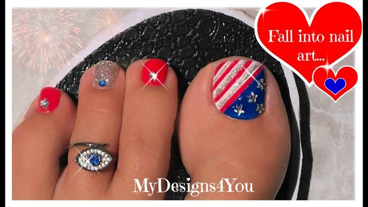 Classic 4th of July Toenail Art Tutorial | Independence Day Pedicure ♥