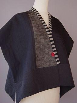 Draped Collar Vest Blue and Black  Juanita Giardin: