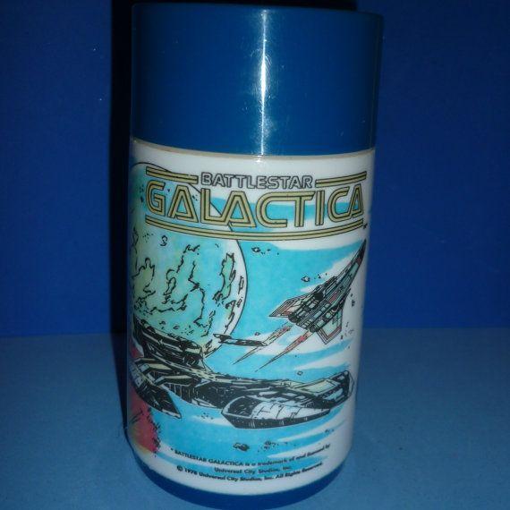 Aladdin Thermos - 1978 Battlestar Galactica - Canadian Dark Blue Version - HTF