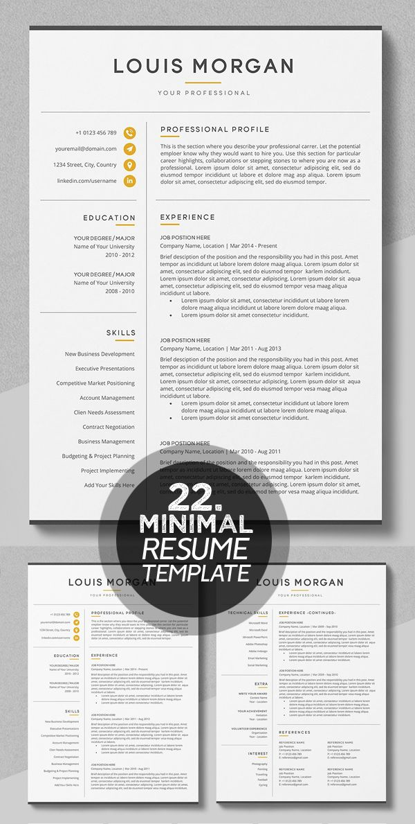 Resume Cv The Louis Resume Design Minimalist Resume Resume Template Professional