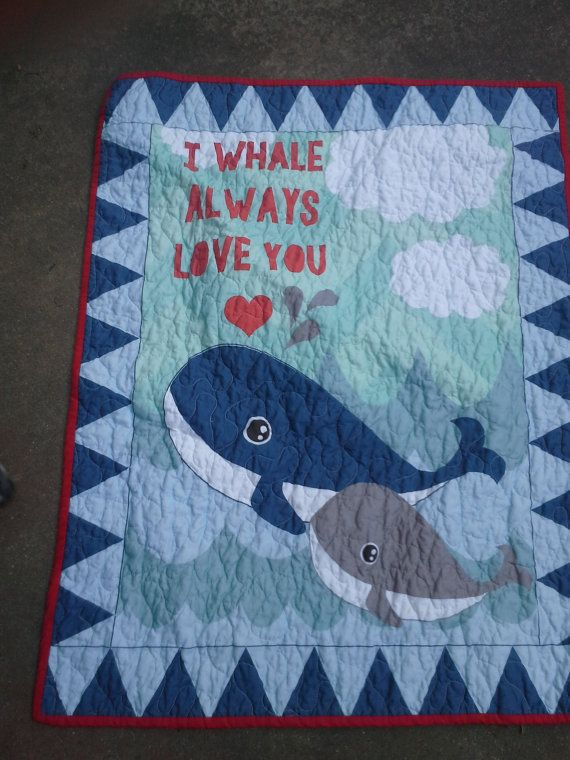 Whale Crib I Love You  Ocean Nursery Crib Bedding by QuiltsForU2