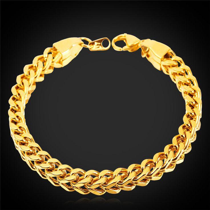 Gold Bracelet Men Jewelry 18K Gold Plated Wheat Chain&Link Wholesale Trendy Stainless Steel Mens Bracelets 2015 Rock Style