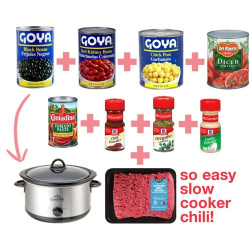 super easy crockpot chili - kinda followed the recipe but added green peppers and my own seasonings, just used my stewed tomatoes and juice. Had it on high from 10-6...very easy and delicious:)