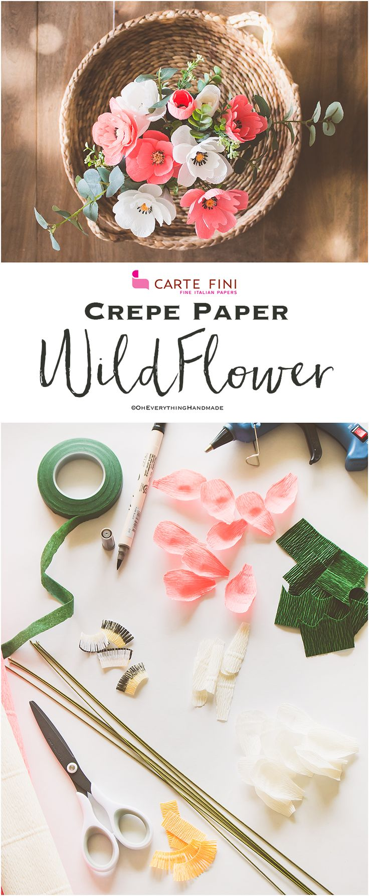 I am so stoked to finally show you some Crepe paper flower tutorials. If you are subscribed to my newsletter, then you may have read in my monthly June newsletter that I have partnered with cartefini.com, which is very exciting for me.