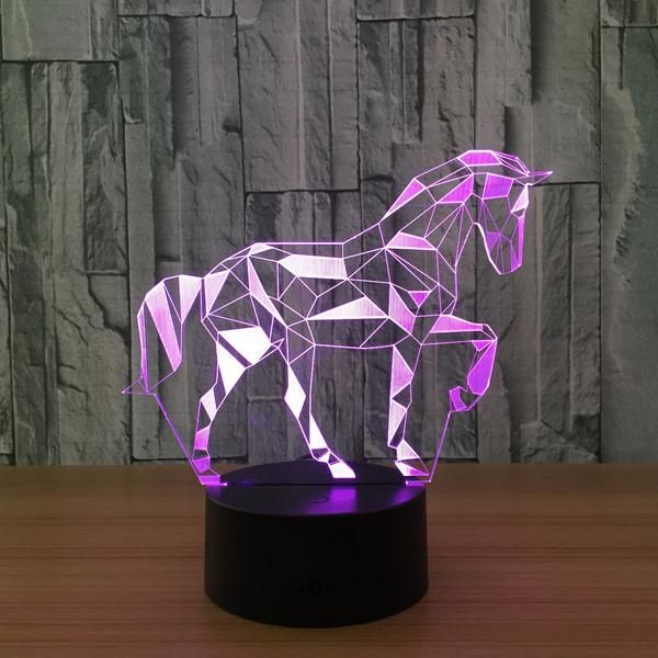 3d Lamp Horse 7 Color Change Remote Touch Switch Color Changing Lights Night Light Christmas Lights