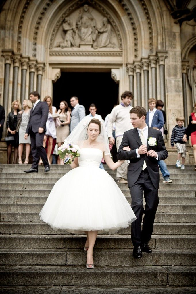 Tea length wedding dress --love the veil and the way the dress lays!