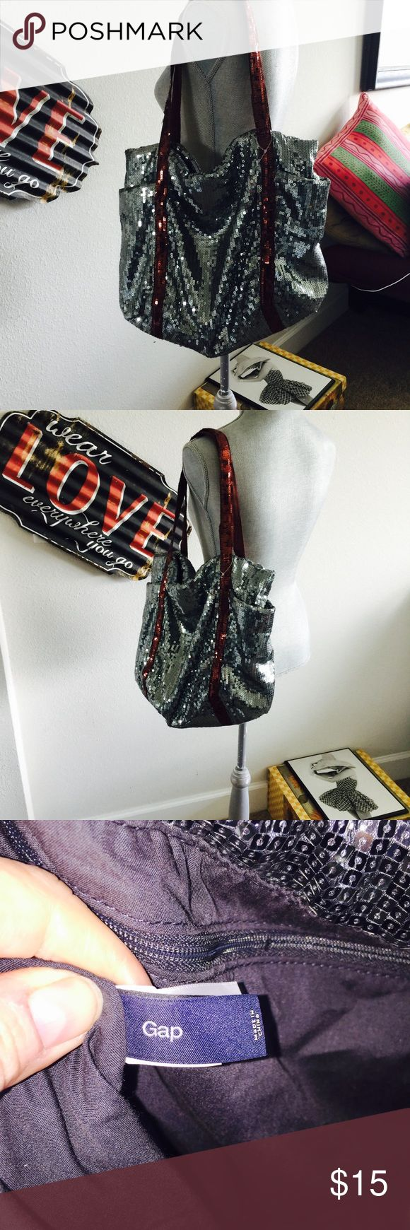 Sliver sequence Gap tote Bag Good Condition!! I have never used but have had in closet for a while. No tears no sequence missing there are some fuzzies please look at photos. GAP Bags Totes