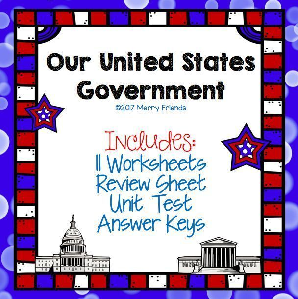 Social Studies resource over our United States Government - Includes Answer Key