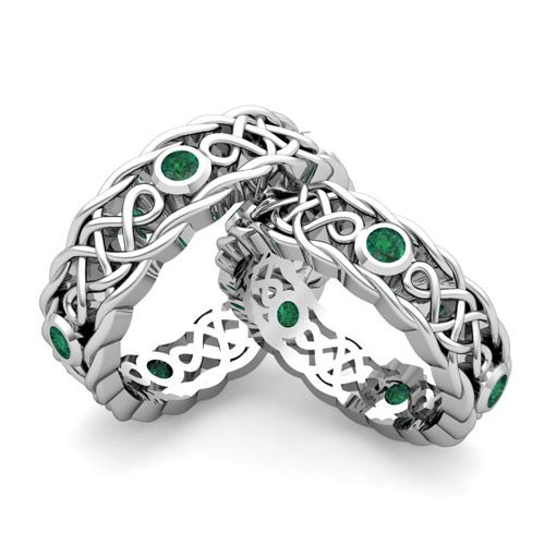 Fabulous This unique matching wedding ring set showcases beautiful Celtic knots interspersed with bezel set emeralds in gold Celtic knot wedding bands for him