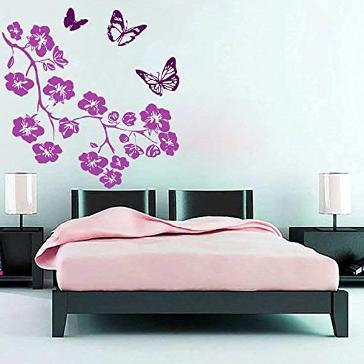 Tree wall decals flowers decal vinyl butterfly sticker for kitchen window nursery bedroom room home decor