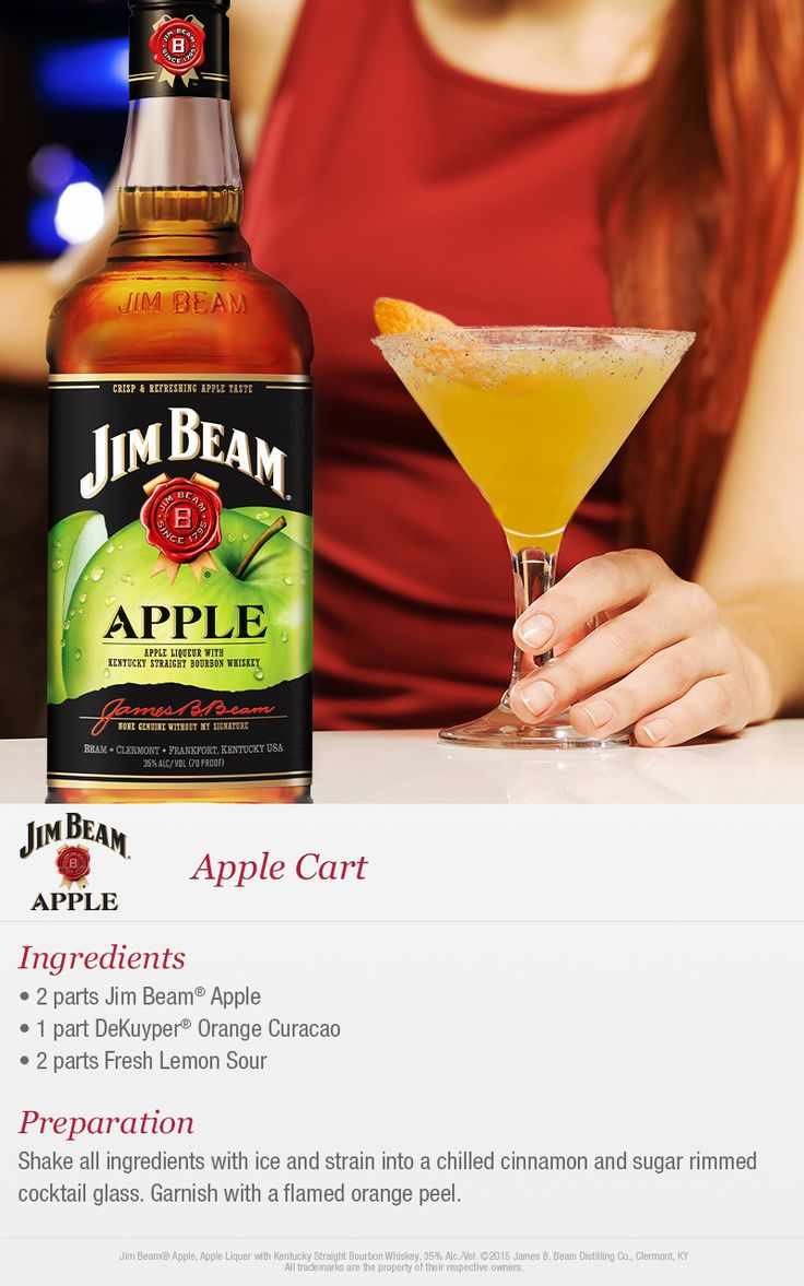 "Freshen up your fall with a new Jim Beam ""Apple Cart"" cocktail. Pair Jim Beam Apple with orange curacao and lemon sour for the perfect fall drink."