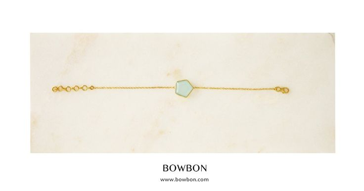 Shop the dreamy Grace Bracelet with single blue chalcedony, available now at http://www.bowbon.com
