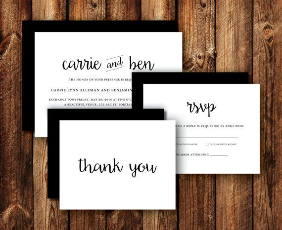 Set of Modern Clean Contemporary Elegant Black and White Wedding Invitations RSVP Reply Cards Thank You Cards Printable or Printed