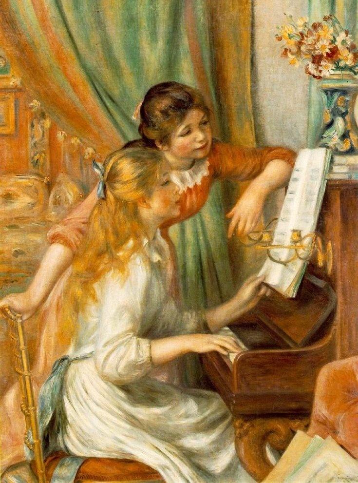 Renoir, Auguste-Jeunes filles au piano  * 지친 심신을달랠 때-르누아르는 인상주의 기법을 발전시킨 대표적인 인상파 화가로 평가받고 있다. 르누아르가 누구지 하던 사람들도 아마 이 작품은 대부분 알고 있을 것이다. 이 작품에서는 밝은 색체가 많이 쓰여 온화한 분위기를 표현하고 있다. 이 작품에서는 부드러운 터치와 고전적인 구도를 이용해 당시 파리의 부유한 가정의 평온한 모습을 보여주는데, 소녀들의 밝고 건강한 피부와 화려한 옷차림, 커튼 너머로 보이는 그림들, 잘 정리된 집안 구조 등으로 편안하고 안락한 삶을 묘사하고 있다. 인상주의적 특징인 점이나 면을 이용하기보다는 길고 가는 선이 겹쳐져 확산되는 터치로 밝고 온화한 분위기를 나타낸다. 두 소녀의 양쪽 볼에 묘사된 부드러운 홍조로 인해 그림안의 모든것이 따사로운 느낌이다. 피아노에 올려져 있는 소녀의 오른손과 다른 한 소녀가 음악에 몰두한 채 자연스럽게 늘어뜨린 왼손은 그림에 생생함을 불어넣어…